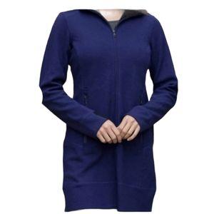 Ibex Pez blue violet merino wool hooded jacket